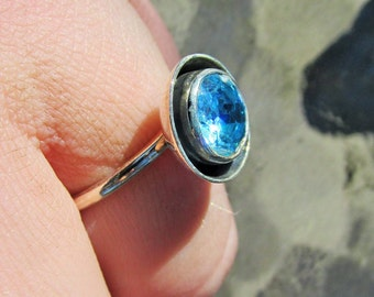 Sale, Beautiful Blue Topaz and 925 Silver Ring , Size 8 or Q
