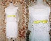 vintage 1960's white lace cocktail dress with green bow / size s