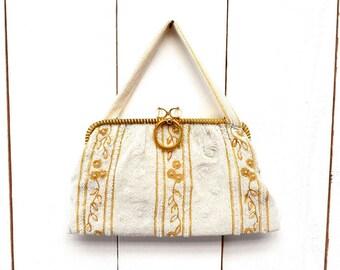 Seed Beaded Handbag 1940s Vintage Gold White Glamourous Mid Century Belgium Purse