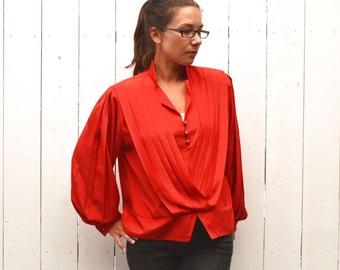 80s Bell Sleeve Blouse Vintage Secretary Pleated Top Cocktail Evening Blouse by Paris Large L