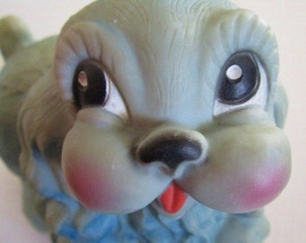 Vintage Turquoise Rubber Puppy Squeaky Toy from Ideal Toy Co. 1960