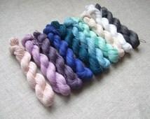 LINEN yarn mini skeins 200gr (10 hanks x 20 gr)