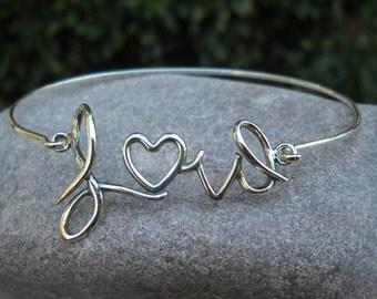 Bracelet - Bangle - Silver Bracelet - Silver Bangle - Sterling Silver Bangle Bracelet - Love