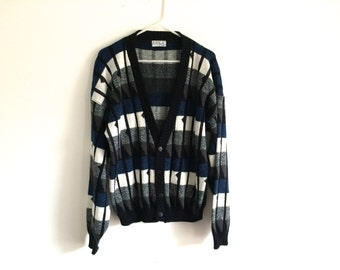 1980s Mens Geometric Hipster Sweater Cardigan / Oversized Sweater