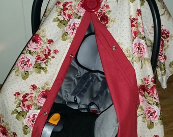 Carseat Canopy Floral Flower Cover