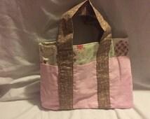 Pink and Brown six pocket tote bag