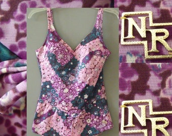 1960s Nina Ricci Swimsuit / 60s Swimsuit / Medium / C cup