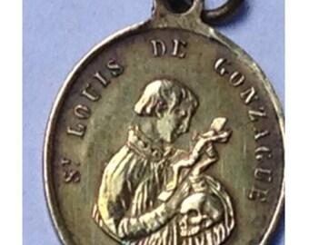 Saint Louis of GONZAGUE & Guardian Angel Vintage Bronze Religious Medal Pendant on Black Cord