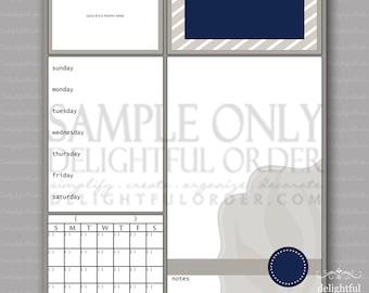 Digital Dry Erase Calendar  - 16x20 Tan & Blue Stripe Child Message Center (JPEG Digital File) - Instant Download - You Print - You Frame