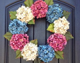 Hydrangea Spring Wreath Summer Wreath Grapevine Door Wreath Pink/Mauve Turquoise Cream Hydrangea Floral Door Decoration Indoor Outdoor Decor