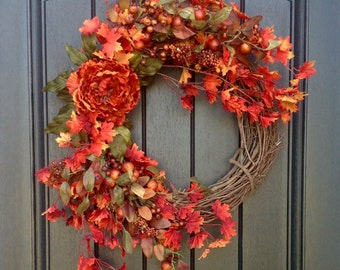 Fall Wreath-Autumn Wreath Orange Berry Branches-Twig-Holiday Wreath- Grapevine Door Decor-Fall Decor Orange Peony Monogrammed Decor