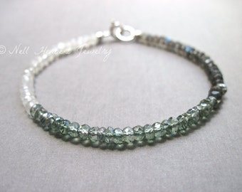 Labradorite, Moonstone and Green Quartz Bracelet, Gemstone Bracelet in Silver, Sterling Silver Beaded Gemstone Bracelet