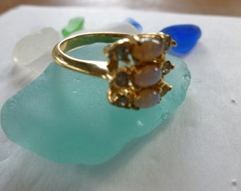 Vintage Avon ring, opal like and clear stones,costume ring, size 8
