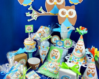 Owl Birthday, 1st Birthday, Owl baby shower, Owl Party Decorations, Boy Birthday Party, Owl Party Printables, Printable party | PERSONALIZED