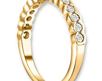 14K White / Yellow / Rose  Gold  Natural Round Diamond Wedding Band  Aniversary Ring ENS4126