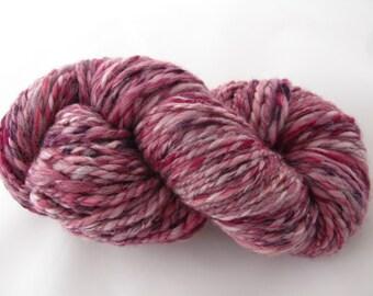 Handspun Shetland Merino Silk Yarn - Damson/Luxury Yarn/Aran Yarn/Pink Purple Red Knitting Wool