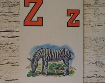 Alphabet Flash Card - Letter Z for Zebra- 1950s Illustrated School Flash Card