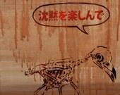Anime Influenced Bird Study 12x24x2.5 Anime on Canvas Crow Skeleton Art Dia De Los Muertos Day of The Dead Art Graffiti on Canvas Modern Art