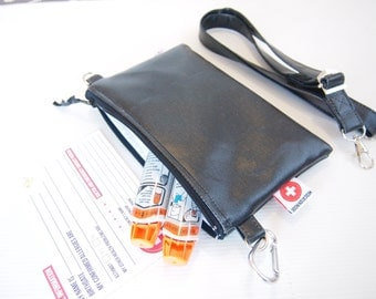 EpiPen Case with an Optional Adjustable Shoulder Strap, Medical ID Card, and a Carabiner - Solid Black (Oilcloth)