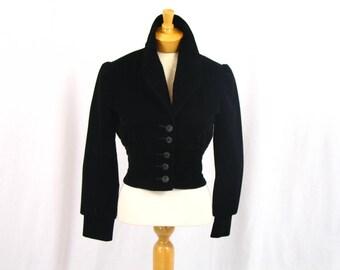 70s Cropped Velvet Jacket * Go Go Jacket * Puffed Sleeve Jacket * Disco Jacket * Retro Jacket