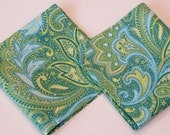 Handkerchief, Set of 2, Paisley Hankies,  Everyday or Wedding, Aqua Blue and Green, Handmade in the USA