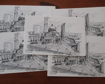 Vintage Pen and Ink Notecards Blank Cards The First Church of Christ Scientist Boston Mass Blank Notecard YourFineHouse Vintage Treasures