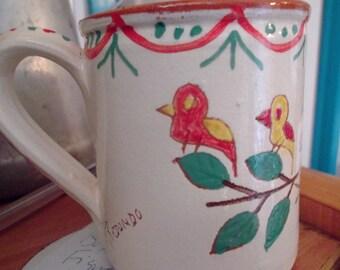 HANDMADE CERAMIC MUG, birds, flowers, signed, Portuguese