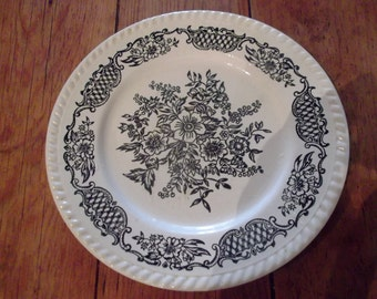 ANTIQUE TRANSFERWARE PLATE,black and white, French Provincial