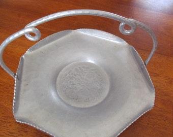 Bromwell Hand Wrought Aluminum Basket,  Vintage, Decorative