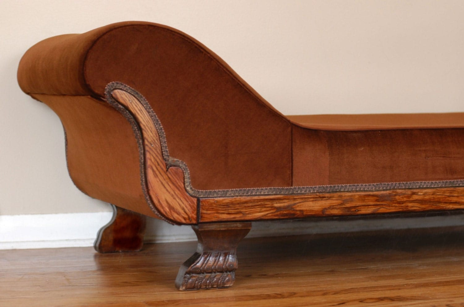 Antique oak fainting couch chaise lounge by bonnbonn on etsy for Antique chaise lounge