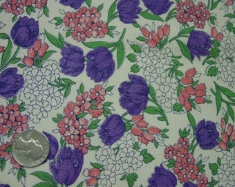 Beautiful Vintage Full Feedsack, Purple Tulips, Pink Flowers 36 x 43""