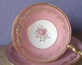 Vintage 1950's Aynsley teacup and saucer, Pink rose teacup, English tea cup, Pink tea cup, Pink and gold bone china teacup, Antique teacup