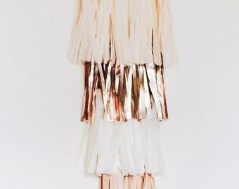 Tissue Tassel Garland | deconstructed | fringe wall hanging | natural | rose gold | cream | wood