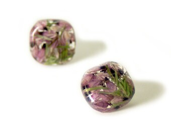 Pink  Flower  Earrings- Real Flower Earrings- Flower Jewelry- Resin Jewelry- Post Earrings- Stud Earrings