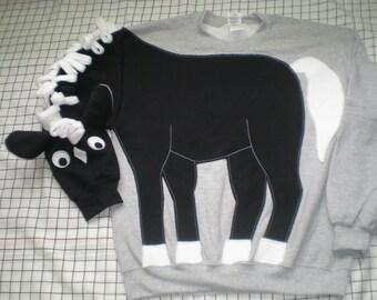Black and white Horse sweatshirt, pony shirt, horse shirt. Adult sizes small, medium, large and x-large.