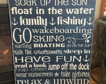 extra large lake house family rules sign - 24x36 - design your own