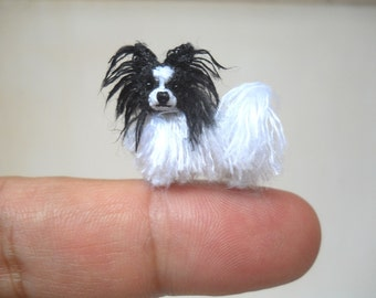 Mini Papillon Dog - Tiny Crochet Miniature Dog Stuffed Animals - Made To Order