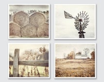 Farmhouse Decor, Country Decor, Rustic Wall Art, Barn Art, Country Print Set of 4, Rustic Country Landscape Prints or Canvases, Farm Art.
