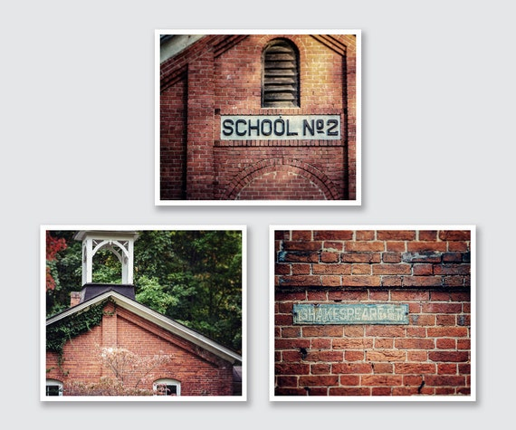 Rustic Brick Wall Decor : Rustic home print or canvas set red brick wall art school