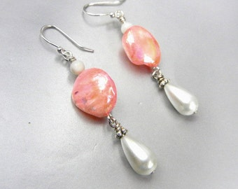 Mother-of-pearl earrings in iridescent coral pink with white shell & pearl drops // beach jewelry