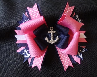 Anchor bow, hot pink and navy nautical hairbow large 5 inches