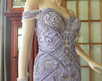 SALE Wedding dress Lavender heavy beaded rhinestone encrusted 1920s 1930s flapper Great Gatsby Wedding dress