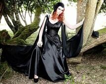 Gothic Black wedding dress. Dark Angel