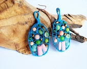Leaf-ing you was never easy -statement, large, fiber, fall, woven earrings