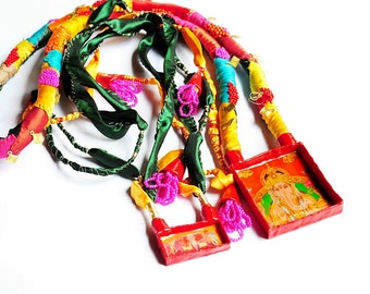 Holi- contemporary pop art statement chunky big colourful, ethnic, indian, elephand, buddha necklace