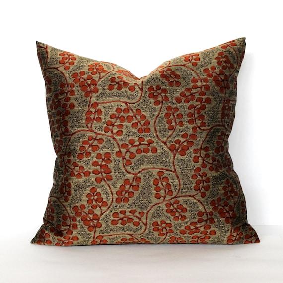 Bronze Pillow Cover Rust Botanical Vine Throw Pillow Cover