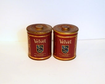 Vintage Tobacco Tins - Velvet Tobacco - Vintage Advertising - Red Tin