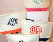 Monogrammed Canvas Cosmetic Bag - Personalized Toiletries Bag, Personalized Make Up Bag, Bridesmaid Cosmetic Bag, Coral Navy Aqua Mint