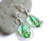 Teardrop Swirl Earrings - Green Glass Briolette and Silver Wire Wrapped Dangle