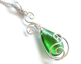 Teardrop Swirl Pendant - Vibrant Green Glass Briolette and Silver Wire Wrapped Dangle